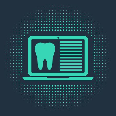 Green Laptop with dental card or patient medical records icon isolated on blue background. Dental insurance. Dental clinic report. Abstract circle random dots. Vector Illustration Ilustracja