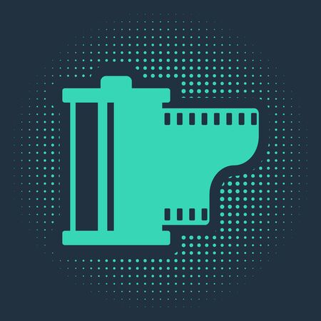 Green Camera vintage film roll cartridge icon isolated on blue background. Film reel. 35mm film canister. Filmstrip photographer equipment. Abstract circle random dots. Vector Illustration