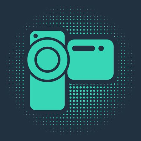 Green Cinema camera icon isolated on blue background. Video camera. Movie sign. Film projector. Abstract circle random dots. Vector Illustration