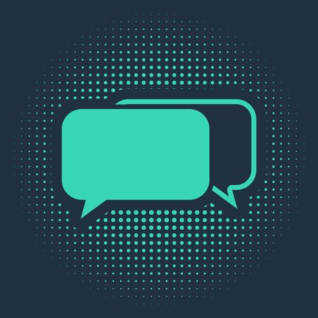 Green Chat icon isolated on blue background. Speech bubbles symbol. Abstract circle random dots. Vector Illustration Ilustracja