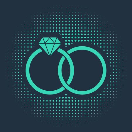 Green Wedding rings icon isolated on blue background. Bride and groom jewelery sign. Marriage icon. Diamond ring. Abstract circle random dots. Vector Illustration