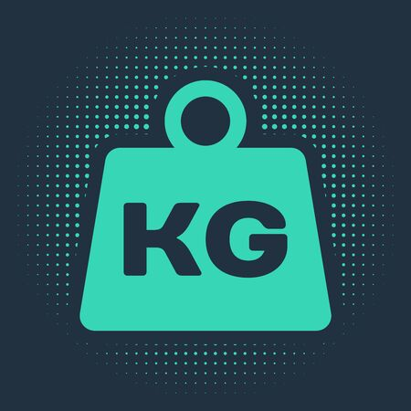 Green Weight icon isolated on blue background. Kilogram weight block for weight lifting and scale. Mass symbol. Abstract circle random dots. Vector Illustration