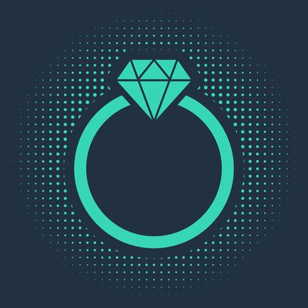 Green Diamond engagement ring icon isolated on blue background. Abstract circle random dots. Vector Illustration Illustration