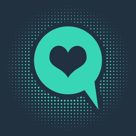 Green Heart in speech bubble icon isolated on blue background. Heart shape in message bubble. Love sign. Valentines day symbol. Abstract circle random dots. Vector Illustration Ilustracja