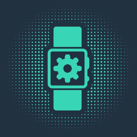 Green Smartwatch setting icon isolated on blue background. Smart watch settings. Abstract circle random dots. Vector Illustration Standard-Bild - 133182324