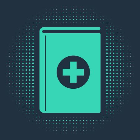 Green Medical book icon isolated on blue background. Abstract circle random dots. Vector Illustration Ilustracja