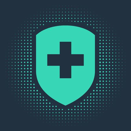 Green Medical shield with cross icon isolated on blue background. Protection, safety, password security. Abstract circle random dots. Vector Illustration Ilustracja