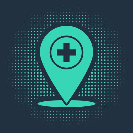 Green Medical map pointer with cross hospital icon isolated on blue background. Abstract circle random dots. Vector Illustration