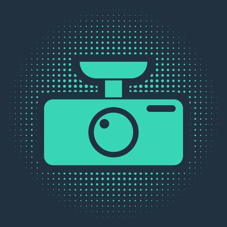 Green Car DVR icon isolated on blue background. Car digital video recorder icon. Abstract circle random dots. Vector Illustration