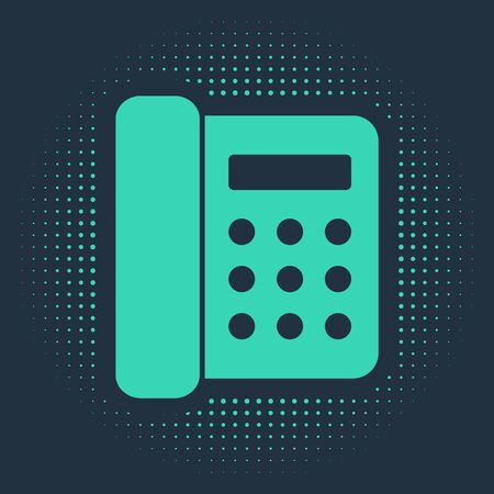 Green Telephone icon isolated on blue background. Landline phone. Abstract circle random dots. Vector Illustration