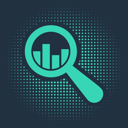 Green Magnifying glass and data analysis icon isolated on blue background. Abstract circle random dots. Vector Illustration