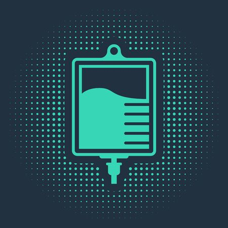Green IV bag icon isolated on blue background. Blood bag icon. Donate blood concept. The concept of treatment and therapy, chemotherapy. Abstract circle random dots. Vector Illustration 스톡 콘텐츠 - 133182404
