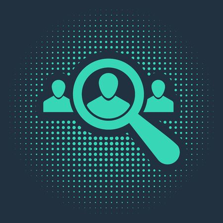 Green Magnifying glass for search a people icon isolated on blue background. Recruitment or selection concept. Search for employees and job. Abstract circle random dots. Vector Illustration Иллюстрация