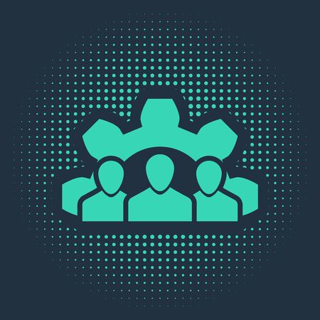 Green Project team base icon isolated on blue background. Business analysis and planning, consulting, team work, project management. Abstract circle random dots. Vector Illustration Stock Vector - 133112480