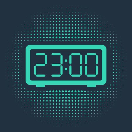Green Digital alarm clock icon isolated on blue background. Electronic watch alarm clock. Time icon. Abstract circle random dots. Vector Illustration