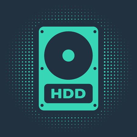 Green Hard disk drive HDD icon isolated on blue background. Abstract circle random dots. Vector Illustration 일러스트