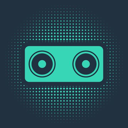 Green Stereo speaker icon isolated on blue background. Sound system speakers. Music icon. Musical column speaker bass equipment. Abstract circle random dots. Vector Illustration Ilustrace
