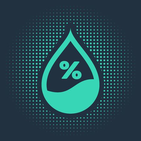 Green Water drop percentage icon isolated on blue background. Humidity analysis. Abstract circle random dots. Vector Illustration