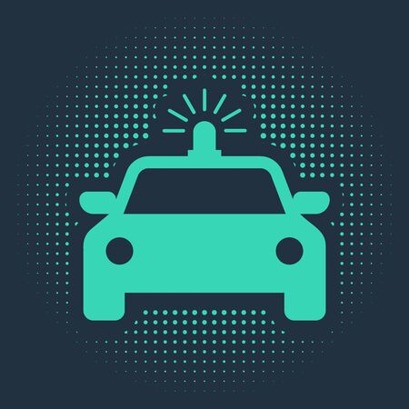 Green Police car and police flasher icon isolated on blue background. Emergency flashing siren. Abstract circle random dots. Vector Illustration Banque d'images - 133114096
