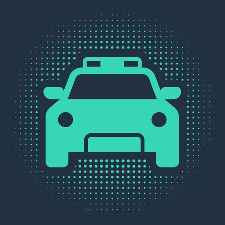 Green Police car and police flasher icon isolated on blue background. Emergency flashing siren. Abstract circle random dots. Vector Illustration
