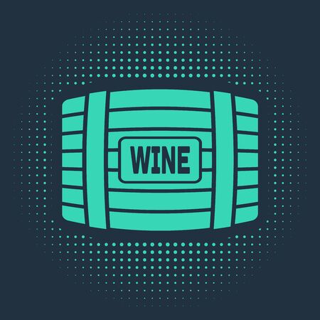 Green Wooden barrel for wine icon isolated on blue background. Abstract circle random dots. Vector Illustration Ilustracja
