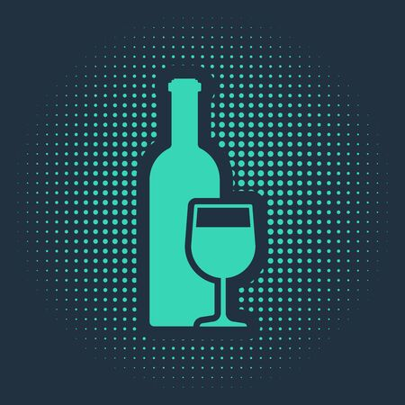 Green Wine bottle with wine glass icon isolated on blue background. Abstract circle random dots. Vector Illustration