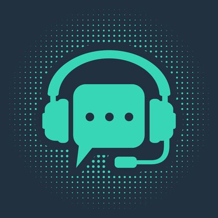 Green Headphones with speech bubble icon isolated on blue background. Support customer services, hotline, call center, guideline, maintenance. Abstract circle random dots. Vector Illustration Vettoriali