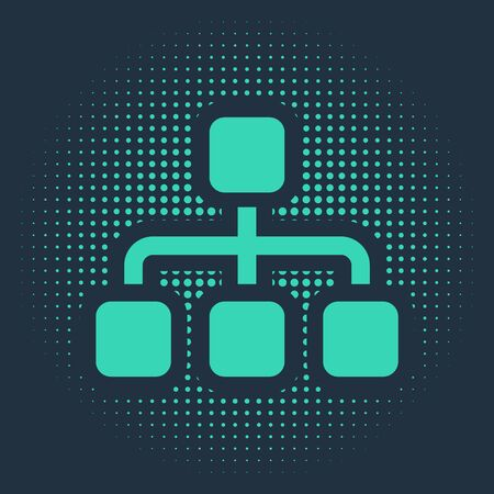 Green Business hierarchy organogram chart infographics icon isolated on blue background. Corporate organizational structure graphic elements. Abstract circle random dots. Vector Illustration Vectores