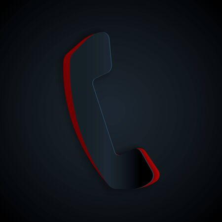 Paper cut Telephone handset icon isolated on black background. Phone sign. Paper art style. Vector Illustration