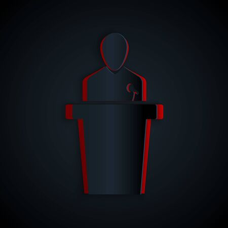 Paper cut Speaker icon isolated on black background. Orator speaking from tribune. Public speech. Person on podium. Paper art style. Vector Illustration