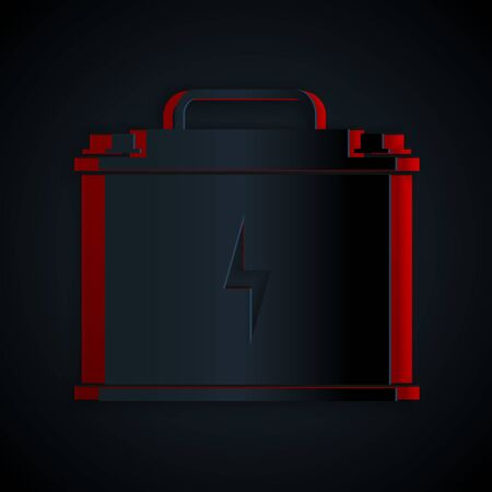 Paper cut Car battery icon isolated on black background. Accumulator battery energy power and electricity accumulator battery. Lightning bolt. Paper art style. Vector Illustration