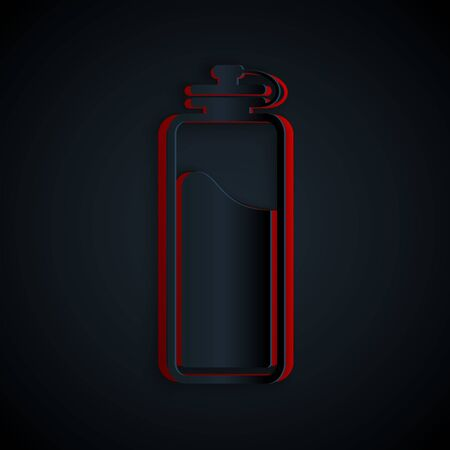 Paper cut Sport bottle with water icon isolated on black background. Paper art style. Vector Illustration