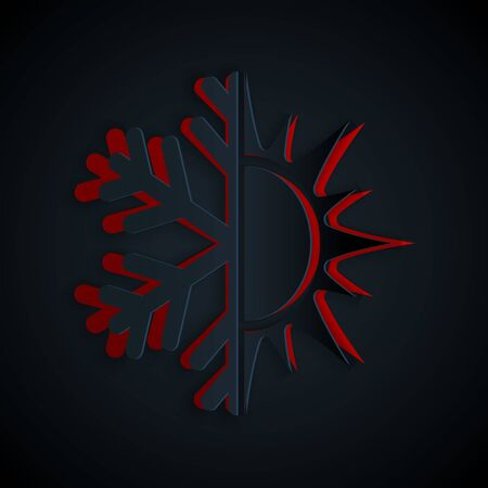 Paper cut Hot and cold symbol. Sun and snowflake icon isolated on black background. Winter and summer symbol. Paper art style. Vector Illustration