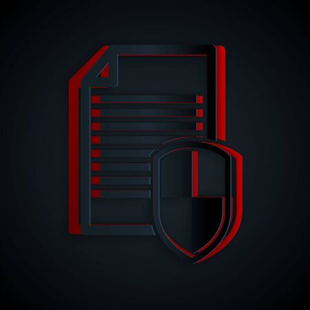 Paper cut Document protection concept icon isolated on black background. Confidential information and privacy idea, secure, guard, shield. Paper art style. Vector Illustration