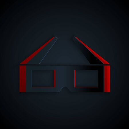 Paper cut 3D cinema glasses icon isolated on black background. Paper art style. Vector Illustration