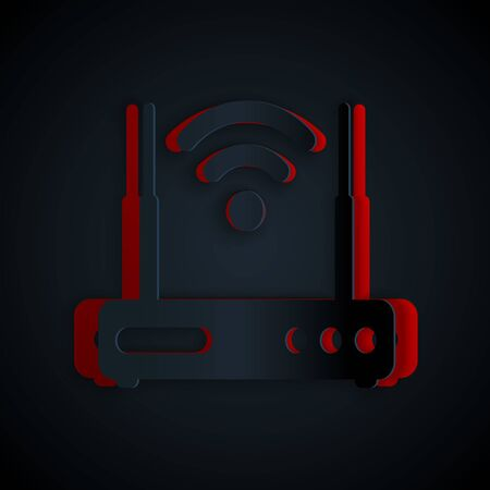 Paper cut Router and wifi signal symbol icon isolated on black background. 일러스트
