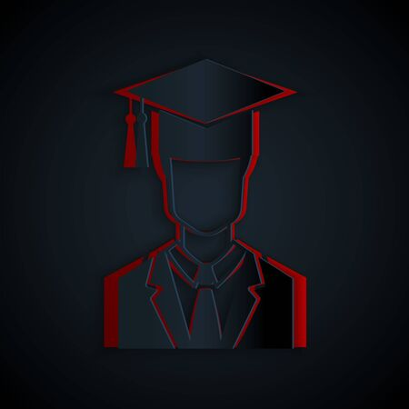 Paper cut Male graduate student profile with gown and graduation cap icon isolated on black background. Paper art style. Vector Illustration Banque d'images - 133176399