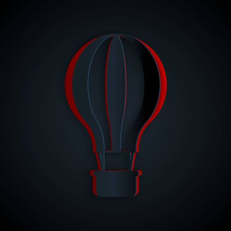 Paper cut Hot air balloon icon isolated on black background. Air transport for travel. Paper art style. Vector Illustration Illusztráció