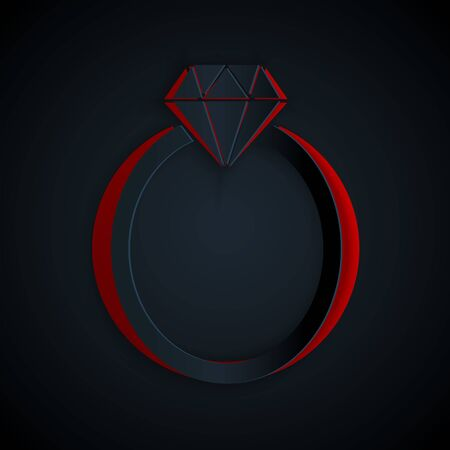 Paper cut Diamond engagement ring icon isolated on black background. Paper art style. Vector Illustration Иллюстрация