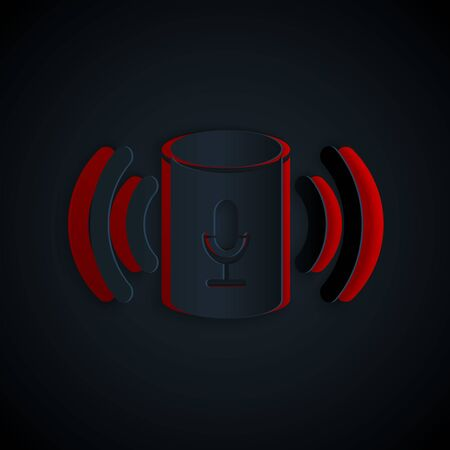 Paper cut Voice assistant icon isolated on black background. Voice control user interface smart speaker. Paper art style. Vector Illustration Çizim