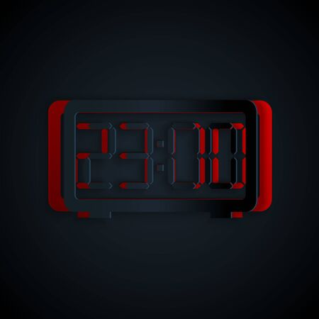 Paper cut Digital alarm clock icon isolated on black background. Electronic watch alarm clock. Time icon. Paper art style. Vector Illustration Ilustrace