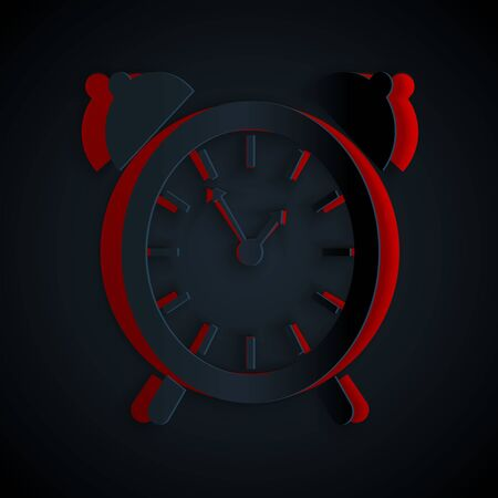Paper cut Alarm clock icon isolated on black background. Wake up, get up concept. Time sign. Paper art style. Vector Illustration Ilustrace