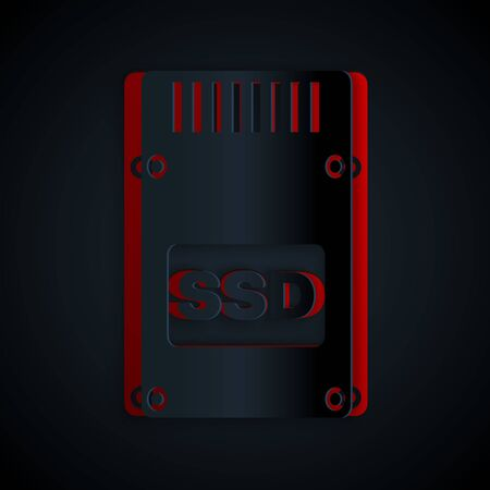 Paper cut SSD card icon isolated on black background. Solid state drive sign. Storage disk symbol. Paper art style. Vector Illustration