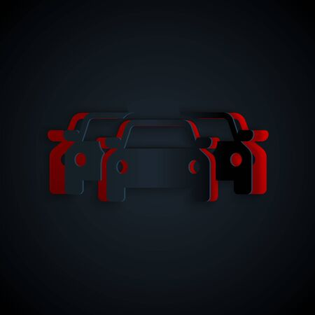 Paper cut Cars icon isolated on black background. Paper art style. Vector Illustration Banque d'images - 133178324