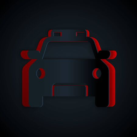 Paper cut Police car and police flasher icon isolated on black background. Emergency flashing siren. Paper art style. Vector Illustration Banque d'images - 133178574