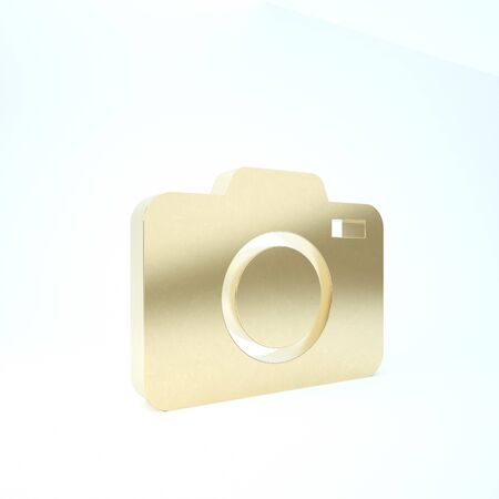 Gold Photo camera icon isolated on white background. Foto camera icon. 3d illustration 3D render