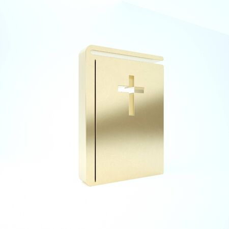 Gold Holy bible book icon isolated on white background. 3d illustration 3D render