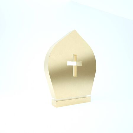 Gold Pope hat icon isolated on white background. Christian hat sign. 3d illustration 3D render Stok Fotoğraf