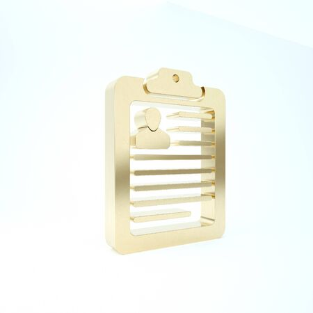 Gold Clipboard with resume icon isolated on white background. CV application. Curriculum vitae, job application form with profile photo. 3d illustration 3D render Фото со стока