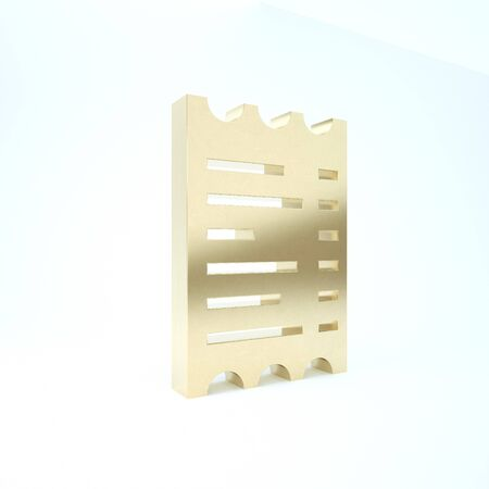 Gold Paper check and financial check icon isolated on white background. Paper print check, shop receipt or bill. 3d illustration 3D render
